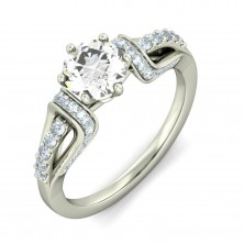 1.54 Ct. Round Brilliant Solitaire Diamond Ring With Round Brilliant Side Diamonds
