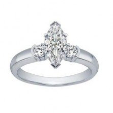 1.00 Ct. Marquise Shape Solitaire Diamond Ring With Round Brilliant Side Diamonds