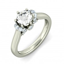 1.26 Ct. Round Brilliant Solitaire Diamond Ring With Round Brilliant Side Diamonds