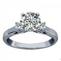 0.80 Ct. Round Brilliant Solitaire Diamond Ring With Round Brilliant Side Diamonds