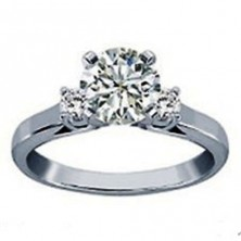 0.90 Ct. Round Brilliant Solitaire Diamond Ring With Round Brilliant Side Diamonds