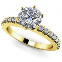 1.08 Ct. Round Brilliant Solitaire Diamond Ring With Round Brilliant Side Diamonds