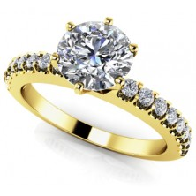 1.28 Ct. Round Brilliant Solitaire Diamond Ring With Round Brilliant Side Diamonds
