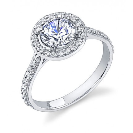 1.18 Ct. Round Brilliant Solitaire Diamond Ring With Round Brilliant Side Diamonds