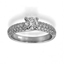 1.31 Ct. Round Brilliant Solitaire Diamond Ring With Round Brilliant Side Diamonds
