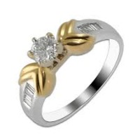 0.71 Ct. Round Brilliant Solitaire Diamond Ring With Baguetts Side Diamonds
