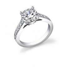 0.88 Ct. Round Brilliant Solitaire Diamond Ring With Round Brilliant Side Diamonds