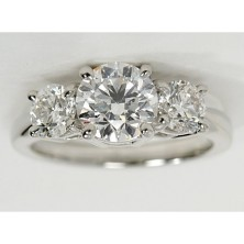 3.00 Ct. Round Brilliant Solitaire Diamond Ring With Round Brilliant Side Diamonds