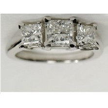 3.00 Ct. Princess Cut Solitaire Diamond Ring With Princess cut Side Diamonds