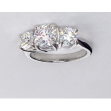 1.60 Ct. Round Brilliant Solitaire Diamond Ring With Round Brilliant Side Diamonds