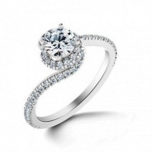 1.50 Ct. Round Brilliant Solitaire Diamond Ring With Round Brilliant Side Diamonds