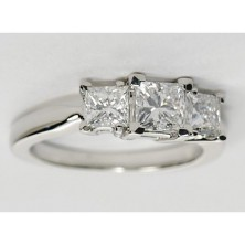 1.60 Ct. Princess Cut Solitaire Diamond Ring With Princess cut Side Diamonds