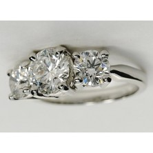 1.90 Ct. Round Brilliant Solitaire Diamond Ring With Round Brilliant Side Diamonds