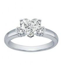0.90 Ct. Heart Shape Solitaire Diamond Ring With Round Brilliant Side Diamonds