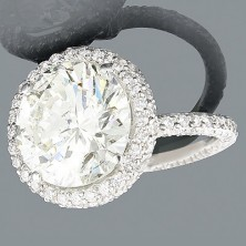 4.00 Ct. Center Round Brilliant Solitaire Diamond Ring With 1.32 Ct.Round Brilliant Side Diamonds