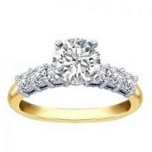 0.70 Ct. Round Brilliant Solitaire Diamond Ring With Round Brilliant Side Diamonds