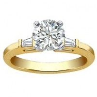 0.60 Ct. Round Brilliant Solitaire Diamond Ring With Baguette Shape Side Diamonds