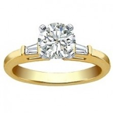 0.70 Ct. Round Brilliant Solitaire Diamond Ring With Baguette Shape Side Diamonds