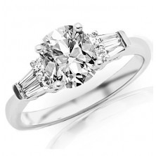 1.10 Ct. Cushion Shape Solitaire Diamond Ring With Round Brilliant and Baguette Shape Side Diamonds