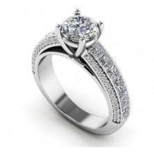 2.08 Ct. Round Brilliant Solitaire Diamond Ring With Round Brilliant and Princess Cut Side Diamonds