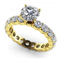 2.20 Ct. Round Brilliant Solitaire Eternity Diamond Band Ring With Round Brilliant Side Diamonds