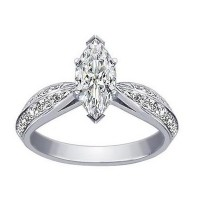 0.80 Ct. Marquise Shape Solitaire Diamond Ring With Round Brilliant Side Diamonds