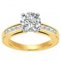 0.70 Ct. Round Brilliant Solitaire Diamond Ring With Princess Cut Side Diamonds