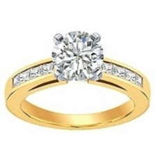 0.90 Ct. Round Brilliant Solitaire Diamond Ring With Princess Cut Side Diamonds