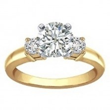 1.00 Ct. Round Brilliant Solitaire Diamond Ring With Round Brilliant Side Diamonds