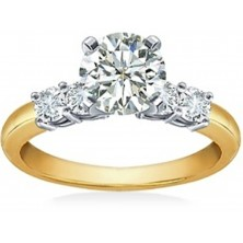 1.30 Ct. Round Brilliant Solitaire Diamond Ring With Round Brilliant Side Diamonds