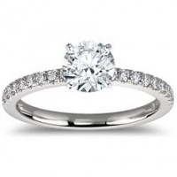 0.86 Ct. Round Brilliant Solitaire Diamond Ring With Round Brilliant Side Diamonds