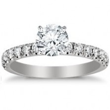 1.02 Ct. Round Brilliant Solitaire Diamond Ring With Round Brilliant Side Diamonds