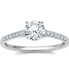 0.98 Ct. Round Brilliant Solitaire Diamond Ring With Round Brilliant Side Diamonds