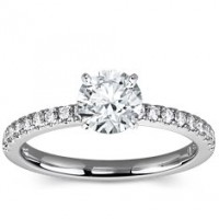 0.96 Ct. Round Brilliant Solitaire Diamond Ring With Round Brilliant Side Diamonds