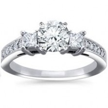 1.00 Ct. Round Brilliant Solitaire Diamond Ring With Round Brilliant and Princess Cut Side Diamonds