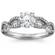 1.58 Ct. Round Brilliant Solitaire Diamond Ring With Round Brilliant Side Diamonds