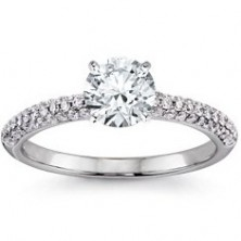 1.79 Ct. Round Brilliant Solitaire Diamond Ring With Round Brilliant Side Diamonds