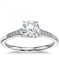 0.84 Ct. Round Brilliant Solitaire Diamond Ring With Round Brilliant Side Diamonds