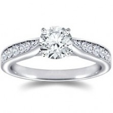 1.42 Ct. Round Brilliant Solitaire Diamond Ring With Round Brilliant Side Diamonds