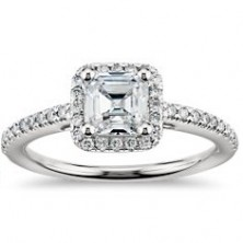1.86 Ct. Asscher Cut Solitaire Diamond Ring With Round Brilliant Side Diamonds