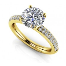 1.65 Ct. Round Brilliant Solitaire Diamond Ring With Round Brilliant Side Diamonds