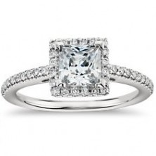 1.86 Ct. Princess Cut Solitaire Diamond Ring With Round Brilliant Side Diamonds
