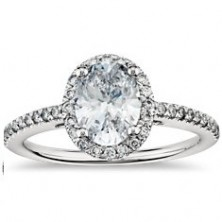 1.83 Ct. Oval Shape Solitaire Diamond Ring With Round Brilliant Side Dia