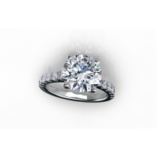 2.10 Ct. Round Brilliant Solitaire Diamond Ring With Round Brilliant Side Diamonds