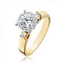 1.35 Ct. Round Brilliant Solitaire Diamond Ring With Round Brilliant Side Diamonds