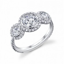 3.05 Ct. Round Brilliant Solitaire Diamond Ring With Round Brilliant Side Diamonds