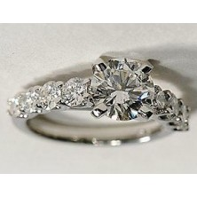 1.40 Ct. Round Brilliant Solitaire Diamond Ring With Round Brilliant Side Diamonds