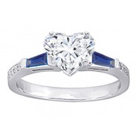 1.10 Ct. Heart Shape Solitaire Diamond Ring With Round Brilliant Diamonds and Baguette Shape Side Blue Sapphire