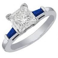1.00 Ct. Princess Cut Solitaire Diamond Ring With Round Baguette Shape Side Blue Sapphire