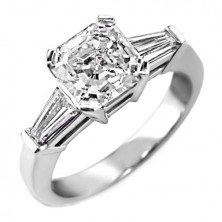 1.87 Ct. Asscher Cut Solitaire Diamond Ring With Baguette Shape Side Diamonds